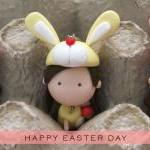 Easter Bunny Mantou Keychain Clay