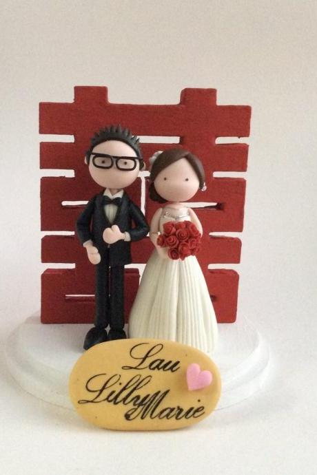 Wedding Cake Topper with Chinese Wording Double Happiness - Not edible ( Made to order)